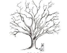 Printable Hand-Drawn Wedding Fingerprint Tree by CardsnLetters