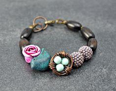 Nest Bracelet, polymer clay bird bracelet by DitsyBlueBeads on Etsy https://www.etsy.com/listing/462145017/nest-bracelet-polymer-clay-bird-bracelet