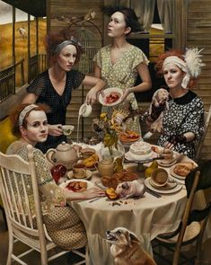 'An Invitation' (2013) by Long Island-based American painter Andrea Kowch (b.1986). Acrylic on canvas, 60 x 48 in. via Richard J. Demato Fine Arts Gallery