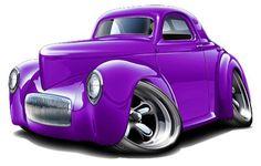 Mustan Hot Rod Cartoon Art   1941 willys hot rod muscle car toon art print new