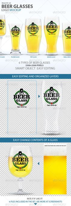 Beer Glasses Logo Mockup — Photoshop PSD #packaging #clear • Available here → https://graphicriver.net/item/beer-glasses-logo-mockup/7620652?ref=pxcr
