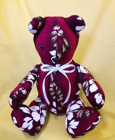 Hawaiian stuffed teddy bear with safety eyes and nose, pre-washed  cotton fabric and polyester stuffing, great gift for child or teenager