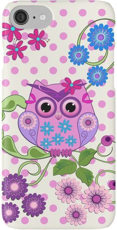 Spring Owl, Flowers & Polka dots case by walstraasart Cute Owls Wallpaper, Stitch Games, Owl Artwork, Owl Clip Art, Owl Pictures, Draw On Photos, Owl Bird, Painted Rocks, Coloring Pages