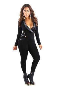 Black Long Sleeve Tuxedo Collar Sexy Jumpsuit