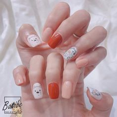 Cute Gel Nails, Polygel Nails, Nail Manicure, Cartoon Nail Designs, Hello Nails, Acylic Nails, Girls Nails, Nail Stickers, Acrylic Nail Designs