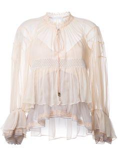 Chloé colour block tiered blouse