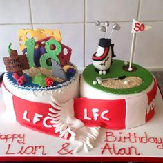 Father & Son joint cake, scuba diving and golf themed