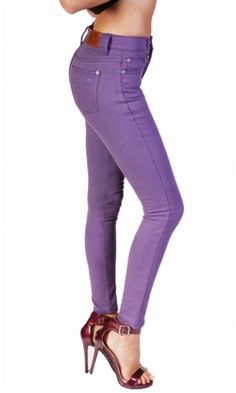 Bullet Blues Lady Slim High Waist Jeans in Eggplant- Made in USA