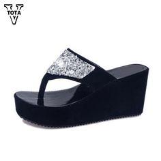 VTOTA Summer Women s Shoes Rhinestone Woman Flip Flops Wedged Platform  Designer Shoes Woman Beach Slippers Zapatos Mujer XY14 dfcd0f0fffed
