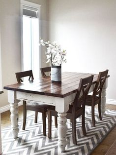 After: Two-Toned Stain...how to stain furniture I think I should do this to my table....after the kitchen is complete
