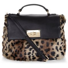 Brown Leopard Print Faux Fur Cross Body Bag (€30) ❤ liked on Polyvore featuring bags, handbags, shoulder bags, brown cross body purse, leopard shoulder bag, leopard crossbody, brown purse and leopard purse