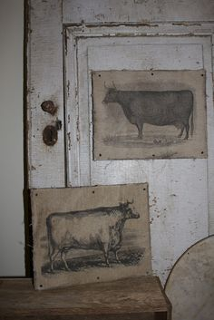 "An artistic accent for prim spaces....  prints are mounted on canvas with nails!   (I've seen prints of hens and goats also)..  ""picture perfect"".....    ;)"