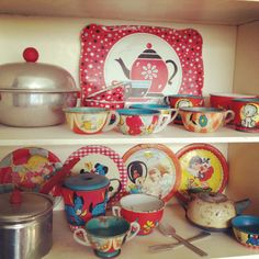 In my craft room I have a little vintage kids hutch. This is what is in the shelves.