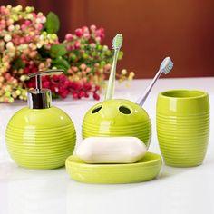 Bathroom ceramic sets lotion bottle plug mug SOAP dish toothbrush four set simple home practical ornaments Green