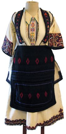 Macedonian woman's folk costume (front), with dickie, chemise, woolen vest, and apron