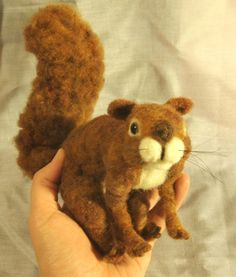 """TUTORIAL -- """"NEEDLE FELTED SQUIRREL"""" by jkanne -- February, 2013 -- 4 steps.   [TO VIEW:  Use orange """"NEXT"""" button after each picture page.]  [T/c]"""