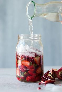 Pomegranate & strawberry infused coconut water. #water #infusion_recipes #drinks
