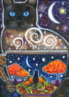 Harvest Magic - 7 x 9 1/2 inch print - by Brenna White - moon stars fall autumn halloween coffee cat. $20.00, via Etsy.