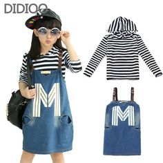 Cheap set up washing machine, Buy Quality set canvas directly from China clothing set Suppliers:        School Children Clothing Sets For Girls Autumn Clothes Cotton Long Sleeve Big Kids Striped Tops & Denim Dress