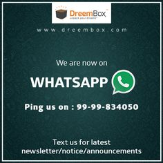 Get latest newsletter/notice/announcements directly on whats app.  Ping us on 99-99-834050.  Visit www.dreembox.com for more.  #win #contest #winner #bikes #cars #ktm #enfield #applemac #yamaha #crazy #dreembox #macbook #renault #kwid #auction #amazing #holidays #dream