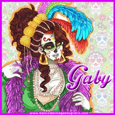 BANCO DE IMAGENES GRATIS: Ponemos el nombre que tú quieras en esta bonita postal de La Catrina y fondo de calaveras para tu perfil en redes sociales