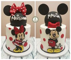 Mickey and Minnie cake i made for my niece and nephew. My favourite Mickey/Minnie cake so far :) Pastel Mickey, Mickey And Minnie Cake, Bolo Mickey, Mickey Cakes, Minni Mouse Cake, Minnie Mouse Birthday Cakes, Mickey Mouse Birthday, Twins Cake, Character Cakes