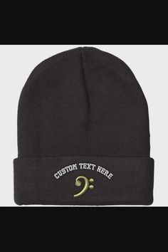 Shop Custom Beanie for Men & Women Black Bass Clef Gold Embroidery Skull Cap Hat - Black now save up 50% off, free shipping worldwide and free gift, Support wholesale quotation! Skull Cap Beanie, Mens Beanie Hats, Men's Beanies, Winter Hats For Men, Hats For Women, Gold Embroidery, Elastic Headbands, Quotation, Caps Hats