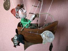 Гондола дирижабля с пилотом. Папье-маше. Автор Маргарита Белова