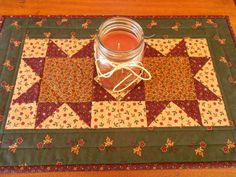Country Colors Quilted Table Runner/ Scrap Star Pattern Burgundy,Beige and Green by RubysQuiltShop on Etsy