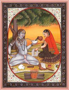 Shiva and Parvati (Parvati Offering Liquor to the Serpent Vasuki)