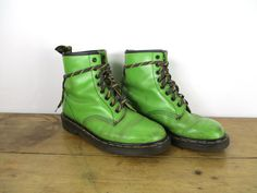 deebe19d034 Vintage 80s 90s 8 Eye Dr Martens Boots in Rare Lime Green Leather - Made in  England 1460 Docs DMs Grunge Punk - UK 7, US 7.5 Men/US 9 Women