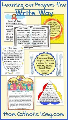 Teach Catholic kids their prayers with copy work. Prayers available in a printable format for younger and older kids!