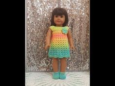 "As I said earlier this week, I'm busy behind the scenes, creating a sloper, patterns, and tutorials for American Girl doll sewing projects. To give me a little more time for my new creations, I've ""borrowed"" the tutorial video above from another crafter (with permission, of course). If you crochet, you're going to love the… American Girl Crochet, American Girl Dress, American Doll Clothes, Crochet Girls, Easy Crochet, Free Crochet, Crochet Baby, Crochet Barbie Clothes, Sewing Doll Clothes"