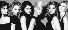 Models: Stephanie Seymour, Karen Mulder, Helena Christiansen, Linda Evangelista, Cindy Crawford, Claudia Schiffer