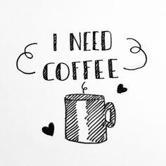 I Need Coffee - by Marijke Versnel - handlettering -handletteren
