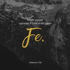"""""""De hecho, sin fe es imposible agradar a Dios. Todo el que desee acercarse a Dios debe creer que él existe y que él recompensa a los que lo buscan con sinceridad."""" Hebreos 11:6 NTV"""