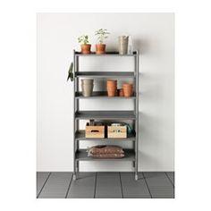 IKEA - HINDÖ, Reol inde/ude, Står også fast på ujævne gulve, fordi fødderne kan indstilles.Du kan tilpasse hyldernes højde efter behov.Reolen er holdbar, nem at gøre rent og beskyttet mod rust, fordi den er lavet af pulverlakeret stål.