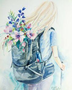Вага рюкзака напряму залежить від ваги наших думок. Несемо легкість. . А мені цікаво було б читати ваші враження від малюнків) . . #andrianakoshova #backpack #backpacking #osprey #ospreypacks #illustration #flowers #watercolor #trecking #trek #travelling #instatrip #mountainsart #mountains #наплічник #рюкзак #цветыакварелью #путешествие #походы #горы #акварель #иллюстрация #koshova_watercolor