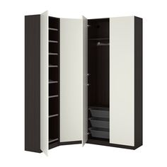IKEA PAX Wardrobe Black-brown/ballstad white 123/173x38x236 cm 10 year guarantee. Read about the terms in the guarantee brochure.