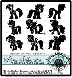 Pony Digital Stamps, png,Clipart, Digital Stamps, Patterns,Overlays, Silhouettes,SVG,