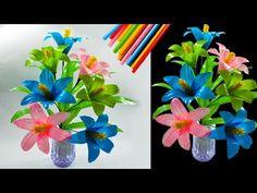 cara membuat bunga hias dari sedotan kreatif | beautiful flower decorations with straws - YouTube Creative Crafts, Diy And Crafts, Diy Straw, Flower Stamen, Art N Craft, Felt Flowers, Crochet Crafts, Diy Paper, Artificial Flowers