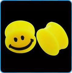 TP03091 Fashion Smiling Face on Ear Gauges Flexible Yellow Silicone Ear Plugs Body Jewelry Ear Expander