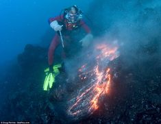 underwater volcanoes   Working up a right lava! Daredevil diver who tries to mould 1,000C red ...