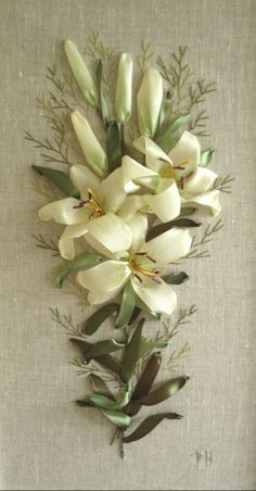 Cream lilies #ribbonEmbroidery