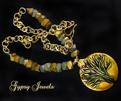 Golden Tree Pendant Necklace with Jasper and Gold Accents from gypsyjewels on Ruby Lane