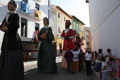 """The """"Gigantes"""" (Giants) walking through the old part of Xativa for the Corpus Christi celebrations."""