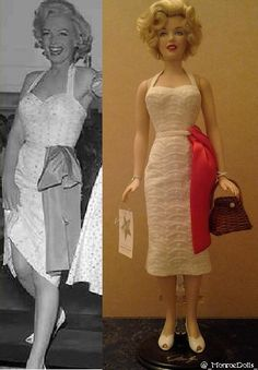 """The Franklin Mint Marilyn Monroe """"Walk Of Fame"""" Vinyl Portrait Doll (Marilyn wore this dress while cementing her handprints in concrete in front of GRAUMAN'S CHINESE THEATRE not The Walk Of Fame)."""
