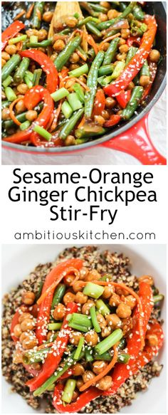 Lip-smacking delicious Sesame-Ginger Orange Chickpea Stir-Fry loaded with veggies. This is a healthier, vegetarian version of your favorite take-out! Serve over quinoa or brown rice for a full, protein-packed meal. Vegan-friendly.