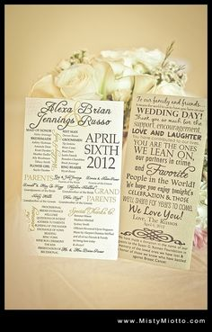 Wedding Program....would be so cute to do them like a giant pack of 'seeds' and fill with pettles or something to throw after :)