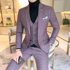 Size Men's Plaid Suit Sets 4 Colors Choose High-end Mens Business Wedding Party Dress Man Jacket with Vest and Pants Mens Casual Suits, Dress Suits For Men, Formal Suits, Mens Fashion Suits, Men Dress, Mens Slim Suits, Men's Formal Wear, Suit For Men, Mens Suits Style